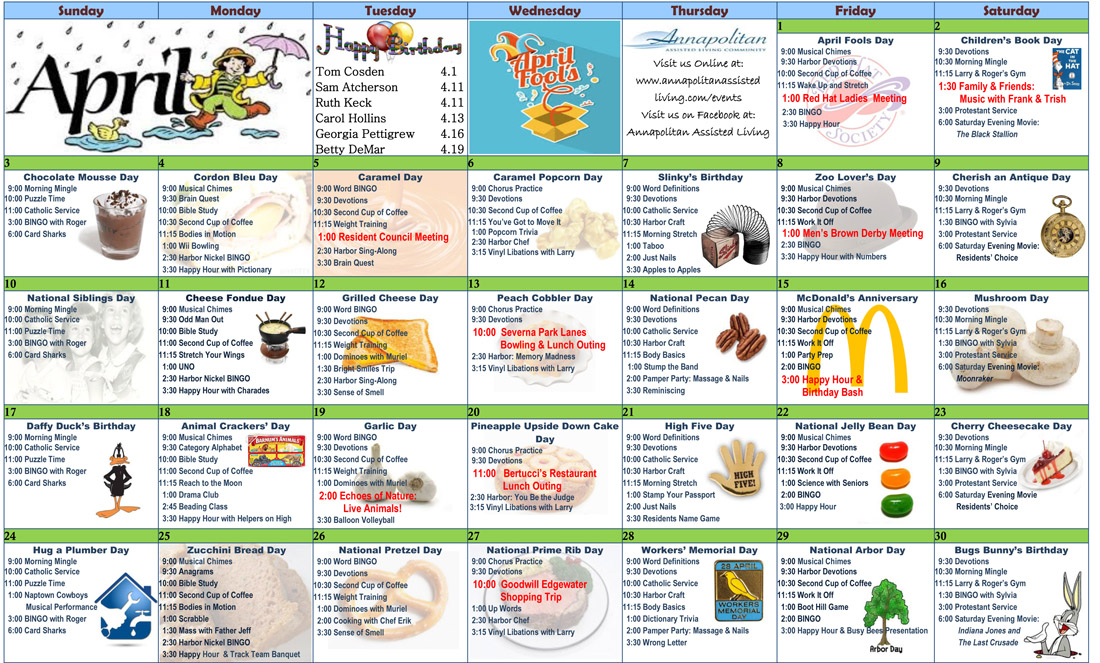 Calendar Ideas For April : April resident calendar annapolitan assisted living