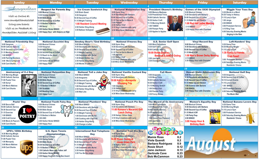 August  Senior Activities  Annapolitan Assisted Living