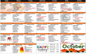October 2017 Resident Calendar