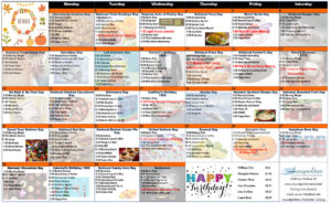 October 2018 Resident Calendar