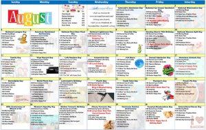 August 2019 Resident Calendar